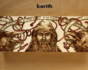 Odin and his Ravens pyrography on wooden pen box