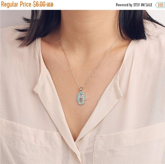 ON SALE Hamsa necklace with choice of colors