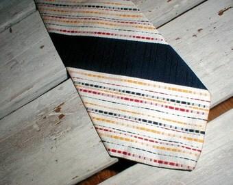 70s Polyester Necktie Black White Stripes With Red & Yellow *Retro*Vintage Mod*