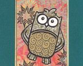 ACEO, ATC, Art Trading Card, Original, Collage, Mixed Media, Hand Drawn, Kid Friendly, Owl
