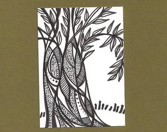 ACEO,  ATC, Tree,  Art Trading Card, Hand Drawn, Kid Friendly, Black and White,