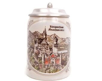 Vintage German Auenkunstadt Beer Stein Königsschloss Neuschwanstein Castle Royal Palace Beer Mug SK ZINN Pewter Lid