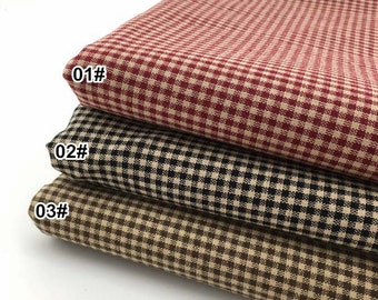 Small Gingham Cotton Fabric, Yarn-dyed Cotton Fabric, 3 Color for Choice Cotton Fabric - 1/2 yard (QT840)