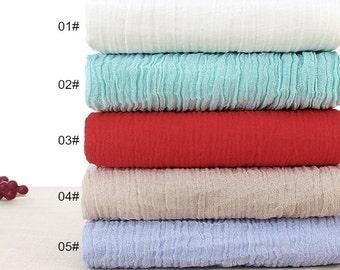 Thin Pure Linen Fabric, Gauze Creases Fold fabric,Transparent Linen Fabric- Half Yard (QT949)