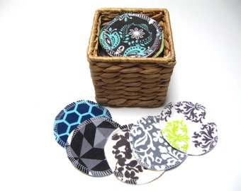 LARGE Reusable Facial Rounds, ADULT Print Rounds, Makeup Remover Pads, Eco-Friendly Face Scrubbies 3 Inch Size, Add on Wash Bag