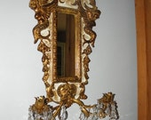 15% OFF C. 50's Italian Carved Gold Gilt Mirror Mythological Wall Sconce, Metal Sheafs & Crystal Prisims