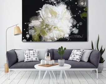 "Blow Away on The Wind 5-2. Floral Painting, White Abstract Art, Abstract Colorful Contemporary Canvas Art Print up to 72"" by Irena Orlov"