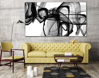 "I Exist. Abstract Black and White, Contemporary Unique Abstract Wall Decor, Large Contemporary Canvas Art Print up to 72"" by Irena Orlov"