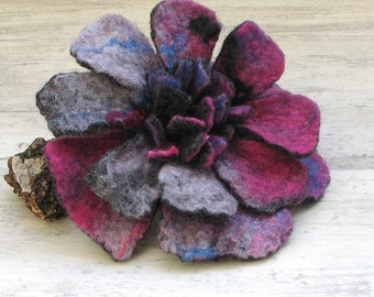 Beautiful Felt Brooch Gift For Her - Colorful Felt Flower  - Felted Brooch - - Flower Pin - Girlfriend Gifts Ideas - Fancy Felt Brooch