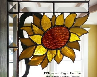 Sunflower Window Corner Stained Glass PDF Pattern