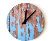 CIJ Sale, Cottage Chic Wall Clock, Featured In Lucky Magazine, Home Decor, Decor and Housewares, Blue Wood, Home and Living, Reclaimed Decor