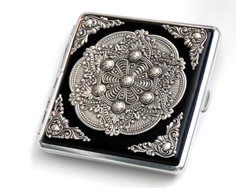 Mandala Cigarette Case Gothic Cigarette Case Silver Black Cigarette Case Card Case Womens Cigarette Case Vintage Style Case Women's Gift