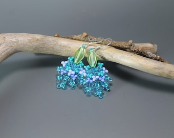 Tropical flowers, earrings, nature, summer, woodland, wire wrap,aqua blue, turquoise color, beach jewelry, delicate wirework, gifts to her