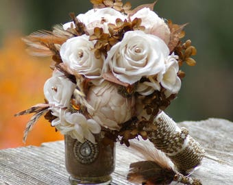 Bridal Brooch Bouquet and FREE Boutonniere Copper Ivory and brown Feather