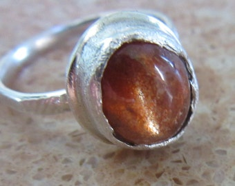 Natural Sunstone Star ring - Ready to Ship Size 7 1/4 - Made in Israel - Boho style Ring