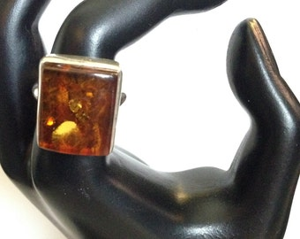 Large Vintage Amber and Sterling Ring Size 7 3/4
