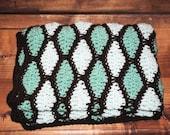 mint chocolate chip diamonds crochet baby afghan/blanket