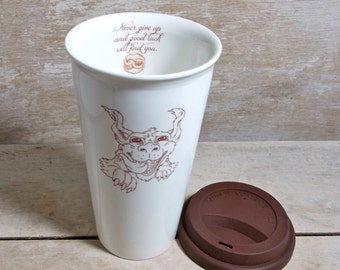 Mug with Luck Dragon, Travel Mug, Take out Cup, Neverending Story, Never Give Up Luck Will Find You Mug, Cute 16 oz Porcelain Travel Coffee