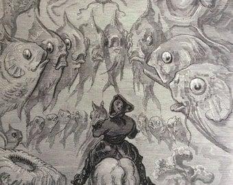 1870 BARON MUNCHAUSEN Antique Engraving Gustave Doré 1st Edition