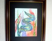 Eel art, pen and ink drawing, sea life, Colorful framed original art, Green and blue Moray Eel, fantasy art