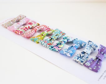 10 Bow Tie crocodile hair clip fabric Liberty - IN STOCK -