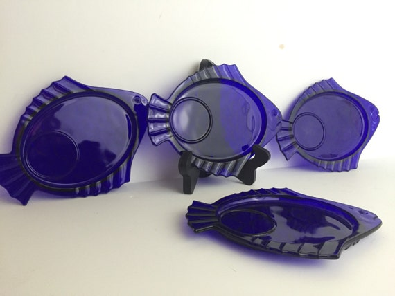 Vintage Cobalt Blue Glass Fish Dishes Appetizer Tray Set Of