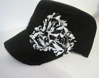 Black Distressed Cadet with Black and White Chiffon Flowers Choose With or Without Embellishment