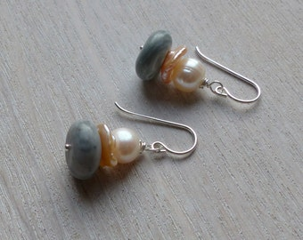 Stone And Freshwater Pearl Drop Earrings
