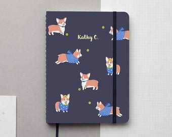 Corgi Navy Gold Foil Personalized Notebook/Sketchbook