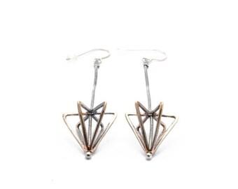 SALE // 30% off // long framed cone earrings - bronze