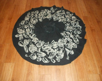 Vintage 50s Black Mexican Pottery Hand Painted Circle Skirt Size Medium Large