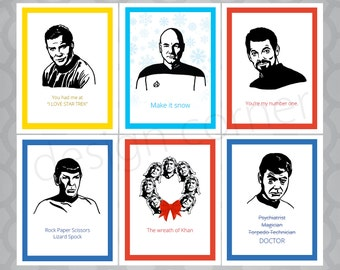 Set of 6 Funny Illustrated Star Trek Cards
