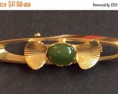 Jade Brooch Shell Art Deco Revival Vintage Jewelry, Gift for Her VALENTINE SALE