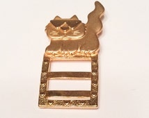Cat Wearing Sunglasses Pin or Brooch, Gold Tone, 1960s Vintage Jewelry, SUMMER SALE