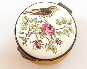 Porcelain Deep Yellow Trinket Box, Hand Painted, Songbird, Rose, Crummles English Vintage BLACK FRIDAY CHRISTMAS Sale