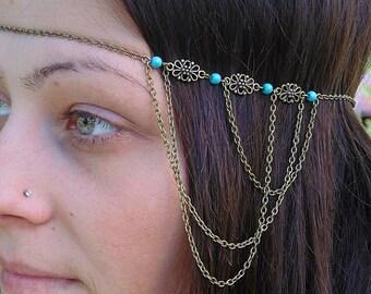 Boho head chain, Chain headband,Turquoise headband, Metal head band, Unique headband.Boho Hair Chain.Hair Jewelry . Chain headdress