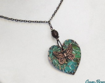 Embossed Copper Heart and Butterfly Necklace