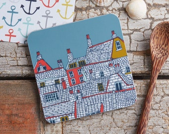 Over the Rooftops, cork backed, melamine Coaster - Illustrative kitchen products  - designed by Jessica Hogarth and printed in the UK