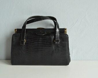 Vintage 60s Lizard Handbag / 1960s Black Reptile Structured Hand Bag Purse / Exotic Skin
