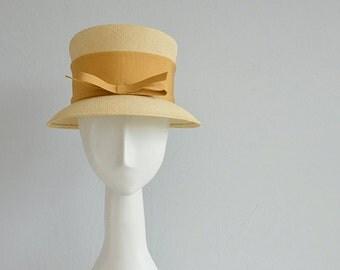 Vintage 60s Straw Hat / 1990s Genuine Panama Natural Straw Sun Hat