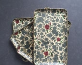 Set of 4 vintage floral trays