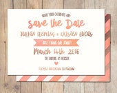 Coral Watercolor and Rose gold Wedding Postcard Save the Date Announcement Card Printable OR Professionally Printed Card