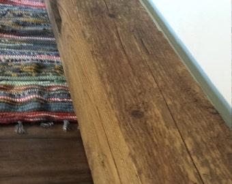 "Vintage Reclaimed Barnwood Beam Barnwood Mantle Reclaimed Wood Mantle 73"" Long Barn Wood Beam Shelving"