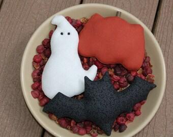 Primitive Halloween, Fall Ghost, Bat, & Pumpkin Ornies, Bowl Fillers
