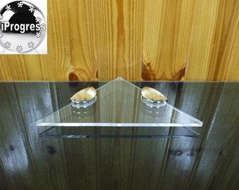 Wall Clear Transparent Plexi-glass Corner Acrylic Shelf 18 cm X 18 cm
