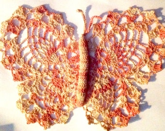 Vintage handmade crochet cotton butterfly in pinks and white