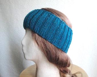 Teal Earwarmer Headband, Sparkly Wool, Women Teen Girls, Warm Ears, Hat Alternative