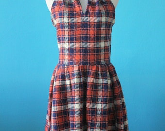Plaid Wool Racer Back Dress with Pockets