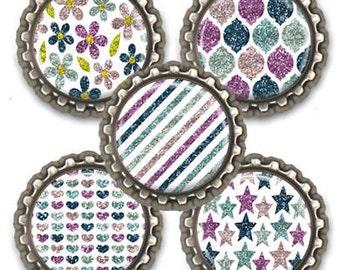 Fridge Kitchen Office Locker Magnets Purple Teal Stars Flowers Stripes Set of Five Party Favors Hostess Gift
