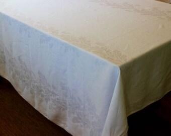 Vintage Linen Tablecloth Napkins White Damask Dinner Cloth 8 Acorns Oak Leaves Art Deco Gorgeous Cloth